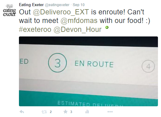 Deliveroo Review on Eating Exeter