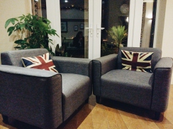 Modern sofas in one of their lounge areas