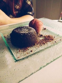 Baked Chocolate Fondant, Apple & Sloe Sorbet