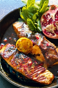 Comptoir Libanais - salmon and pomegranate
