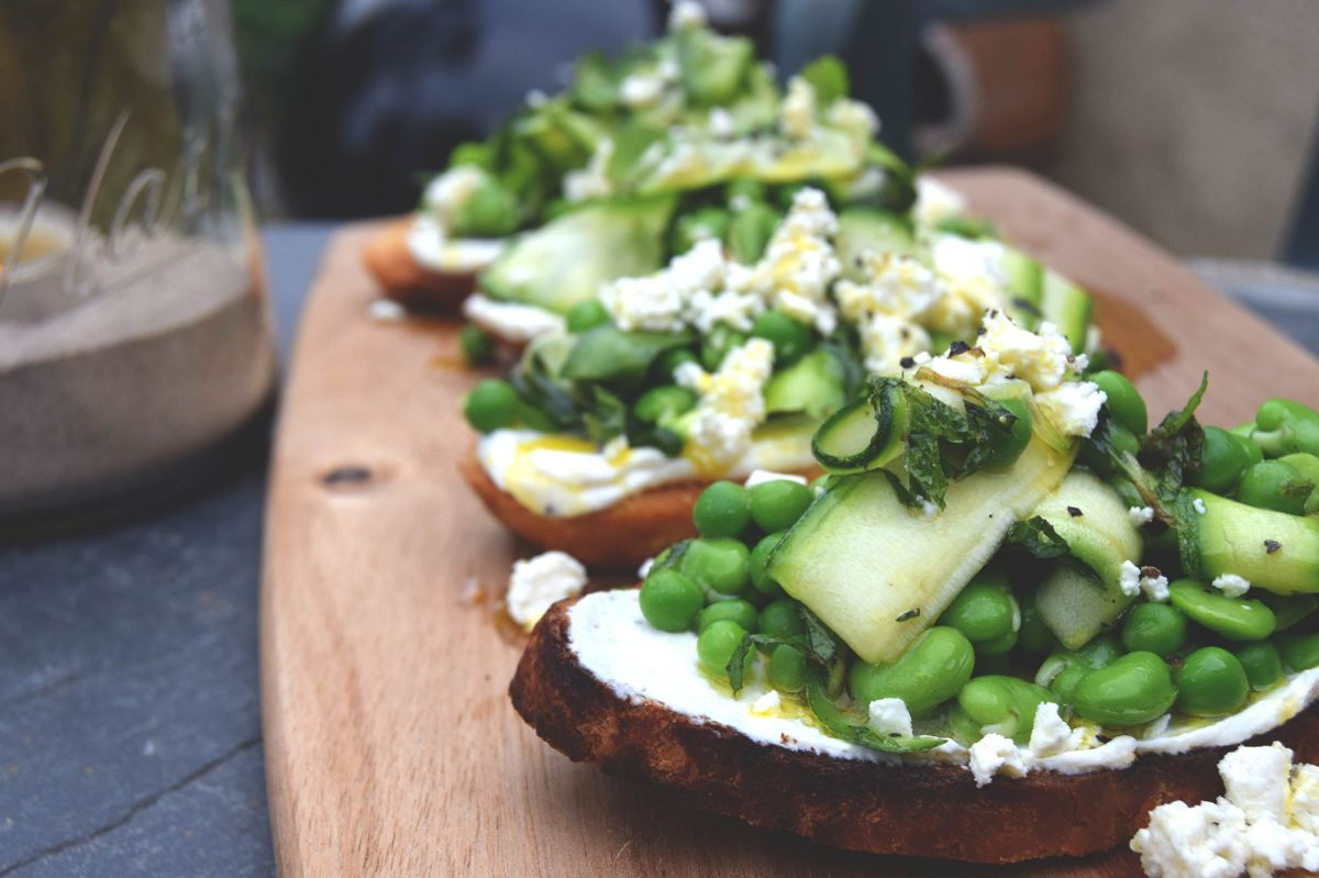 Broadbean Pea & Courgette Crostini's from Chef Tom Allbrook
