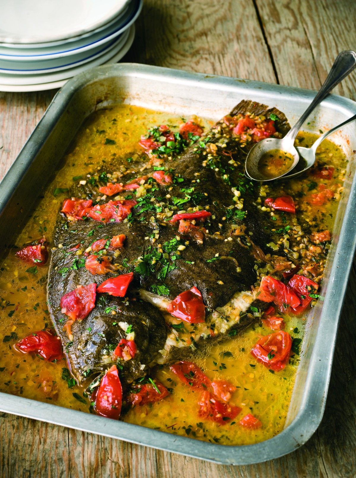 Recipe: A Whole Oven Poached Brill with Tomatoes, Thyme and Saffron by Mitch Tonks