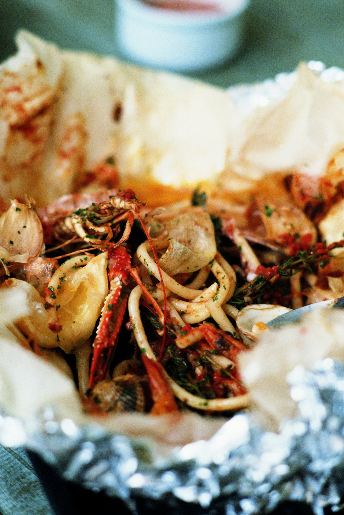 Recipe: Baked Shellfish with Bucatini, Whole Roasted Garlic and Thyme by Mitch Tonks