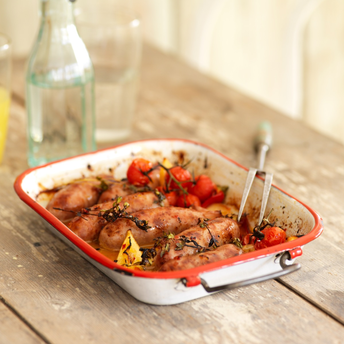 Recipe: Baked Kenniford Farm Cranberry and Rosemary Sausages with Piri Piri and Thyme