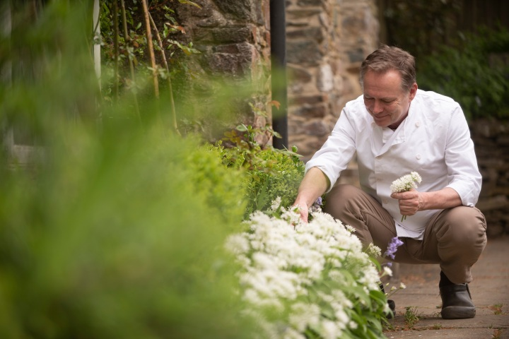 Chris Sherville with wild garlic